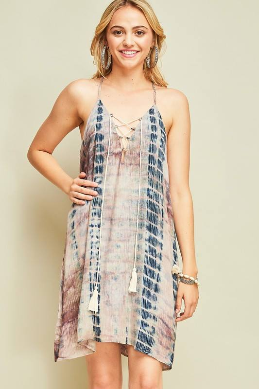 Tie Dyed Tassel Dress