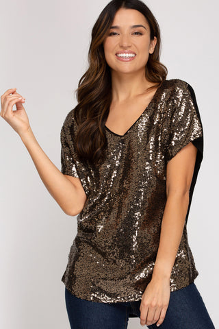 Party Ready Sequin Top in Gold
