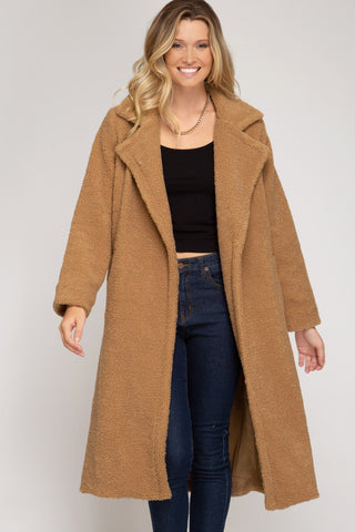 Cozy Winter Teddy Coat in Camel