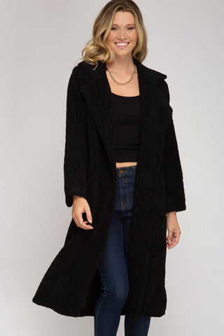 Cozy Winter Teddy Coat in Black