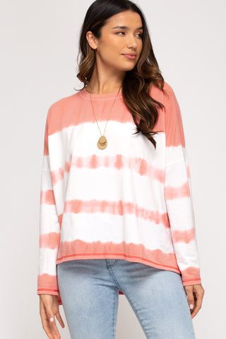 Daydreaming Tie Dye Top in Coral