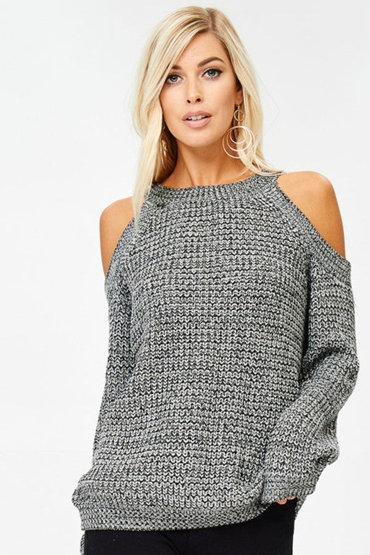 Chic Charcoal Ribbed Sweater