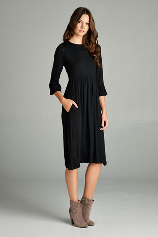Midi Ruffle Sleeve Dress