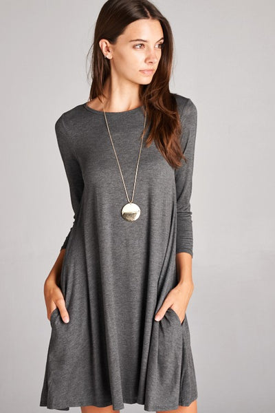 Best in Basics Dress in Charcoal