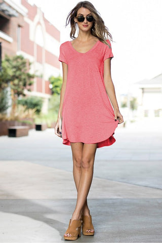 Everyday T-shirt Dress in Coral