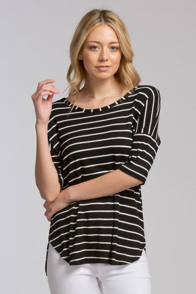Striped Criss Cross Back Top