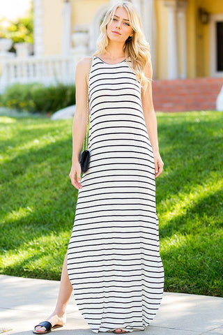 Sweet Striped Maxi in Ivory