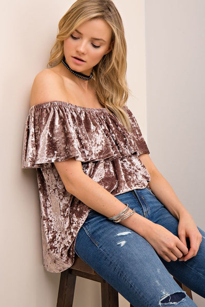 Velour Ruffle Off the Shoulder