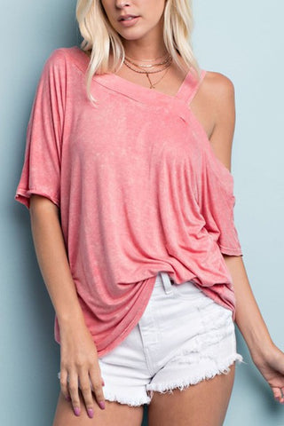 Sexy Casual One Shoulder Top in Coral