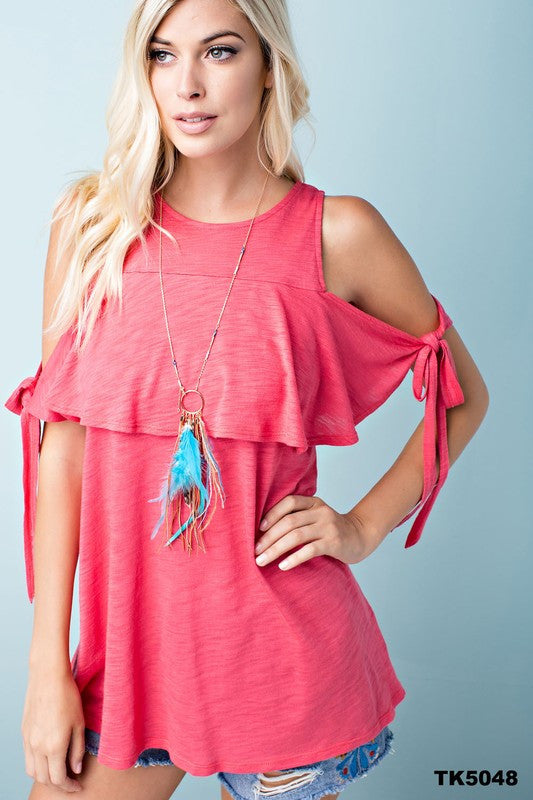 Coral Ruffle Overlay Cold Shoulder