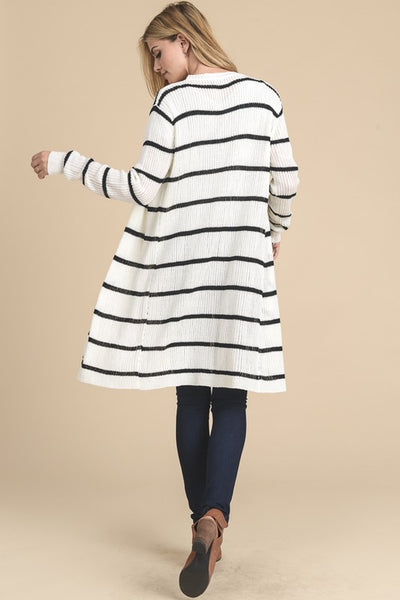White/Black Stripe Open Cardigan