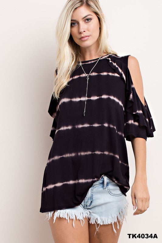 Black Tie Dye Cold Shoulder