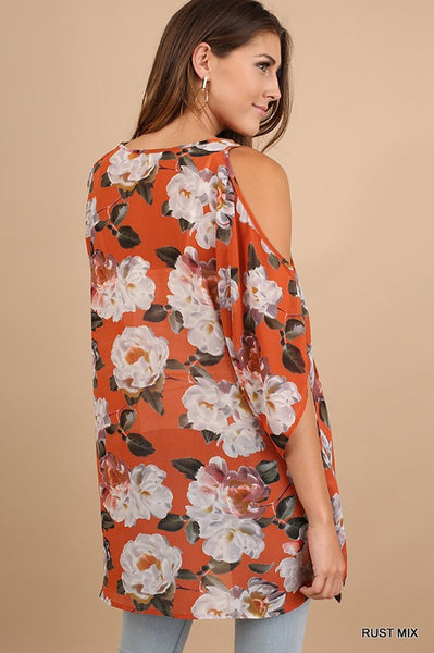 Flowy Floral Cold Shoulder in Rust