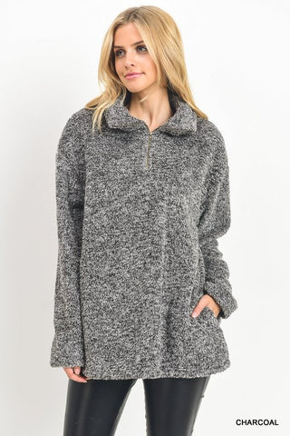 Furry Pullover in Charcoal