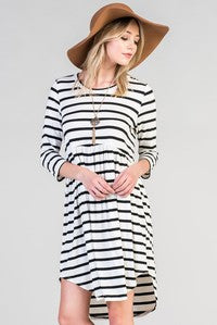 Ivory/Black Stripe Dress