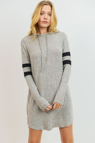 Sporty Hoodie Dress in Grey