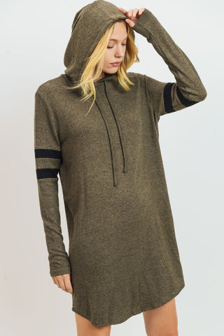 Sporty Hoodie Dress in Olive