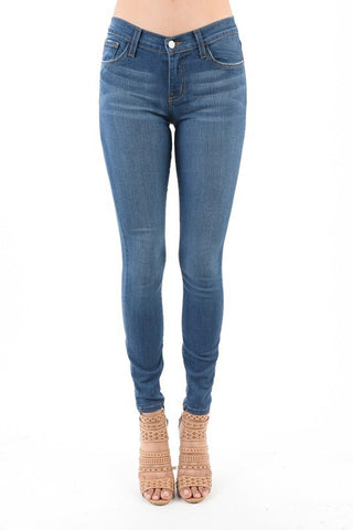 Mid Rise Medium Wash Skinny Jeans