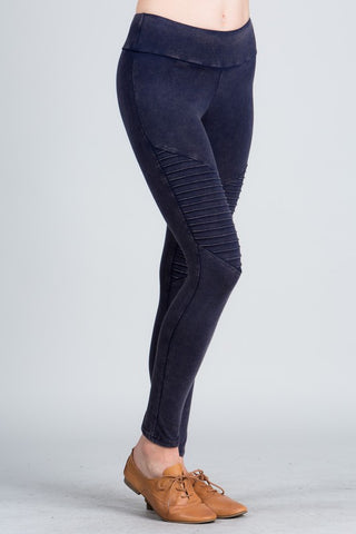 Mineral Wash Moto Leggings in Navy