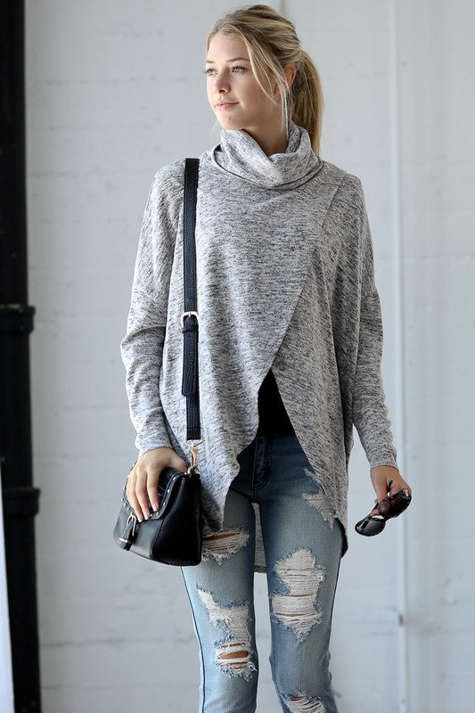 Layered Cowl Neck Tunic in Grey