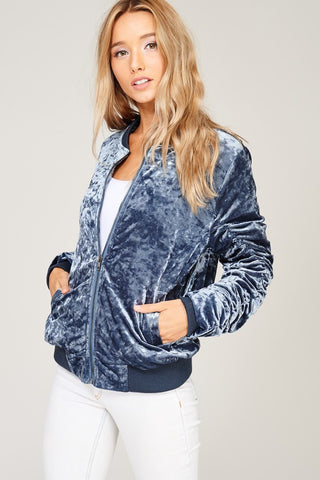 Crushing It Bomber in Blue/Charcoal