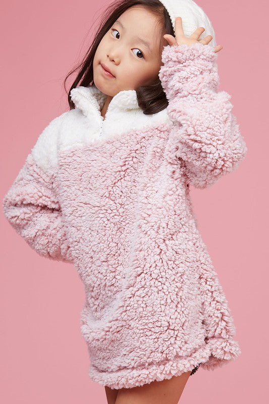 Fuzzy Two Toned Pullover in Pink