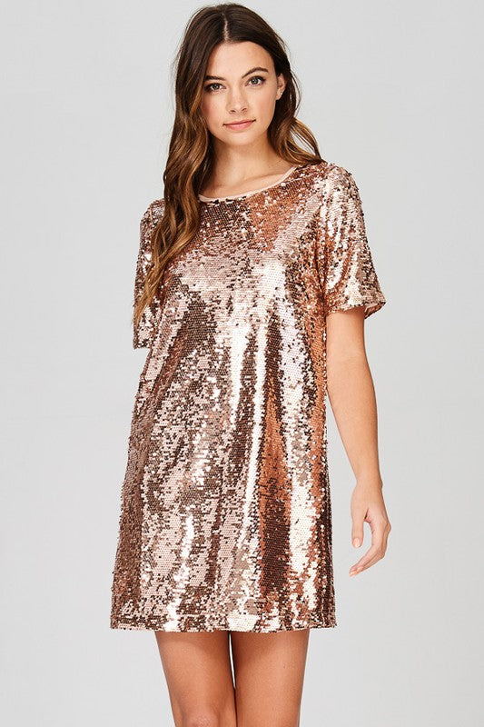 Time to Sparkle Dress in Rose Gold