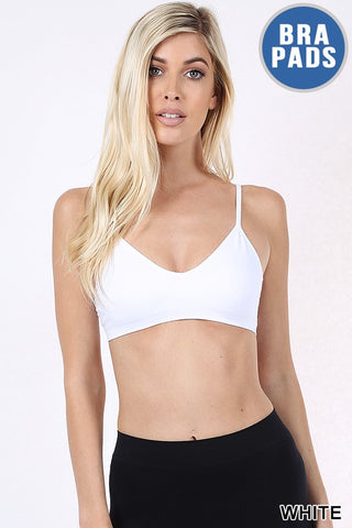 V-neck Bandeau Bralette in White