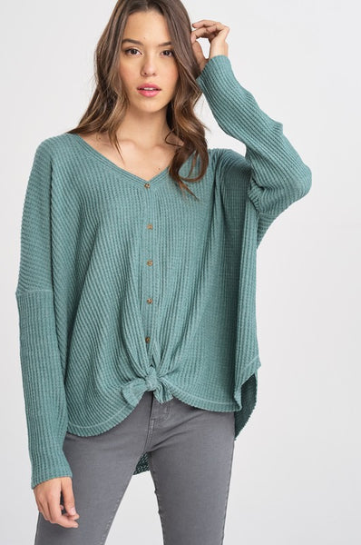 Casual Wear Thermal Top in Teal