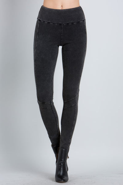 Panel Leggings in Mineral Washed Black