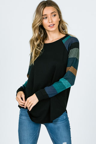 Stripe It Up Top in Jade