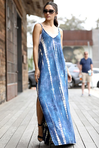 Over the Moon Tie Dye Maxi in Blue/White