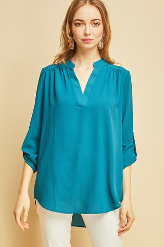 Classic V-Neck in Teal
