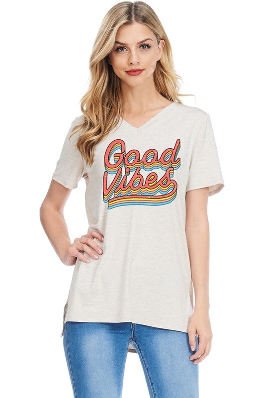 Good Vibes Tee in Oatmeal
