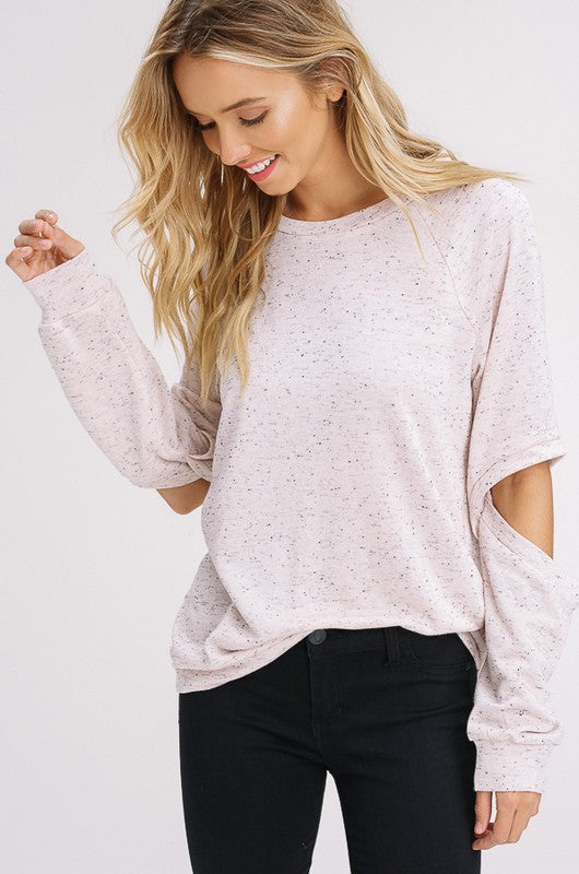 Elbow Cut Out Sweatshirt in Blush