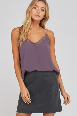 Lace Trimmed Camisole in Midnight