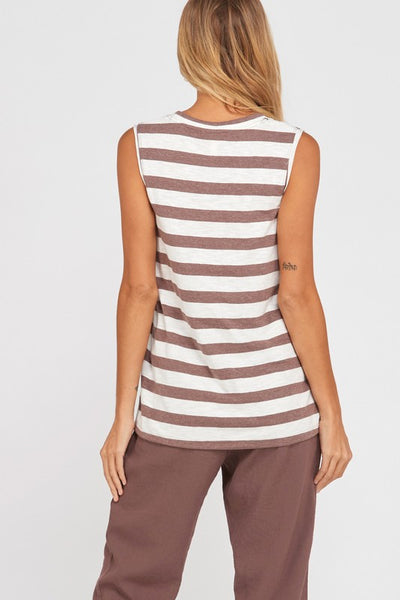 Anytime Striped Tank in Brown