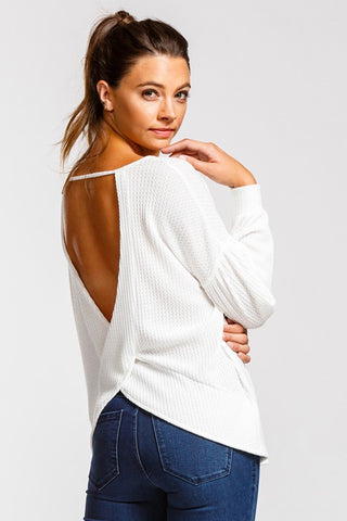 V-Back Thermal Knit Top in Off White