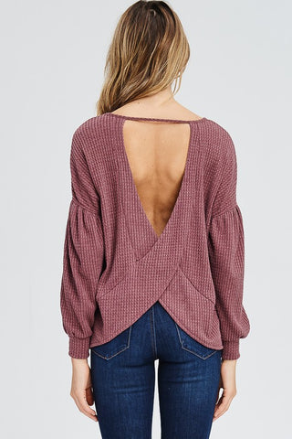 V-Back Thermal Knit Top in Plum