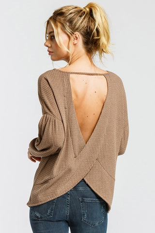 V-Back Thermal Knit Top in Mocha