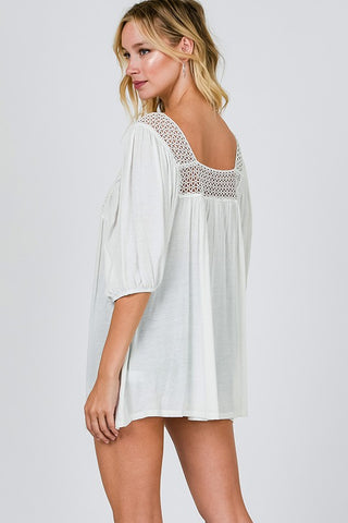 Chic Crochet Tunic in Off White