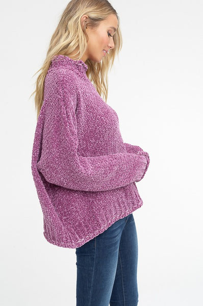 Keepin' Cozy Chenille Sweater in Purple