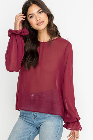 Sheer Romance Top in Burgundy