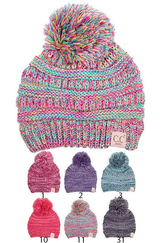 Kid's Multi colored Pom Pom Beanie