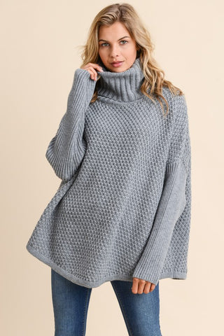 Cozy Cowl Neck Sweater in Grey