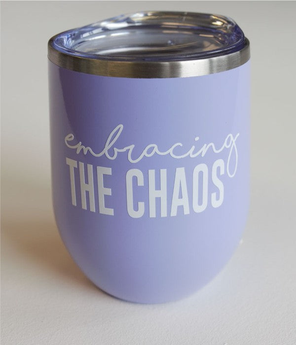 Embracing the Chaos Tumbler in Light Purple