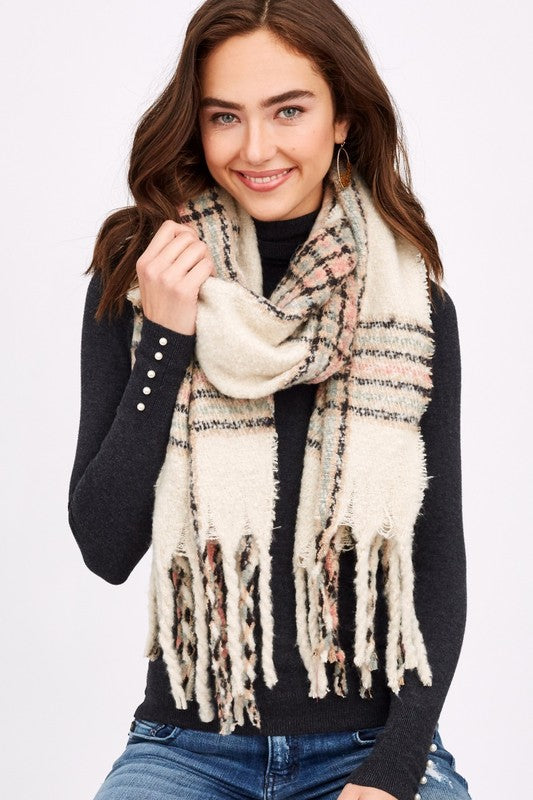 Brushed Plaid Scarf in Ivory