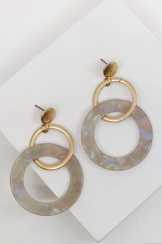 Double Hoop Earring in Grey