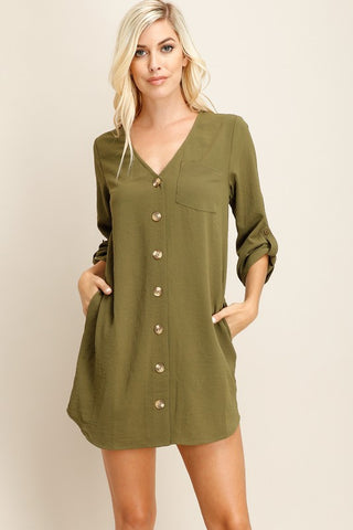 Free Spirit Button Down Dress in Olive