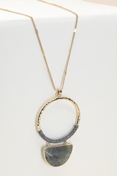 Half Moon Stone Necklace in Grey